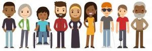 inclusion image of people of varied races, disabilities, ages, etc.