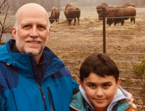 Mark and Wyatt Cook with American Bison